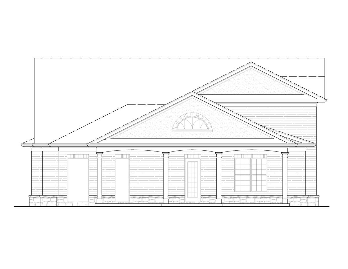Cottage, Craftsman 3 Car Garage Apartment Plan 80739 with 1 Beds, 2 Baths Rear Elevation