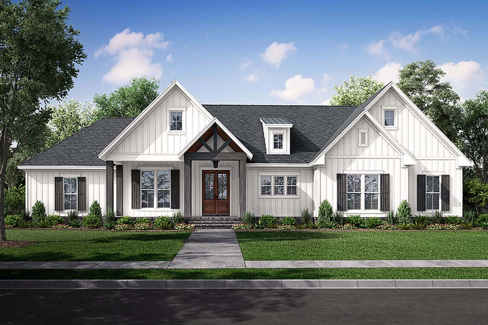 Country, Farmhouse, Southern, Traditional House Plan 80805 with 3 Beds, 3 Baths, 2 Car Garage Picture 4