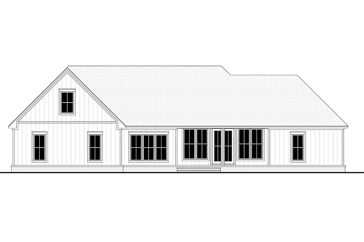Country, Farmhouse, Southern, Traditional House Plan 80805 with 3 Beds, 3 Baths, 2 Car Garage Rear Elevation