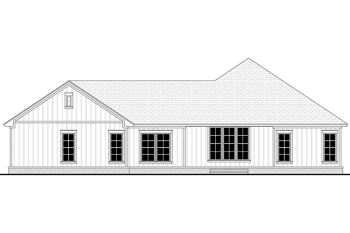Country, Farmhouse, Ranch House Plan 80806 with 3 Beds, 3 Baths, 2 Car Garage Rear Elevation