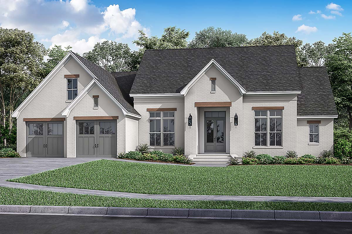 Farmhouse, French Country House Plan 80807 with 3 Beds, 2 Baths, 2 Car Garage Elevation