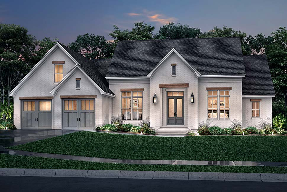 Farmhouse, French Country House Plan 80807 with 3 Beds, 2 Baths, 2 Car Garage Picture 4