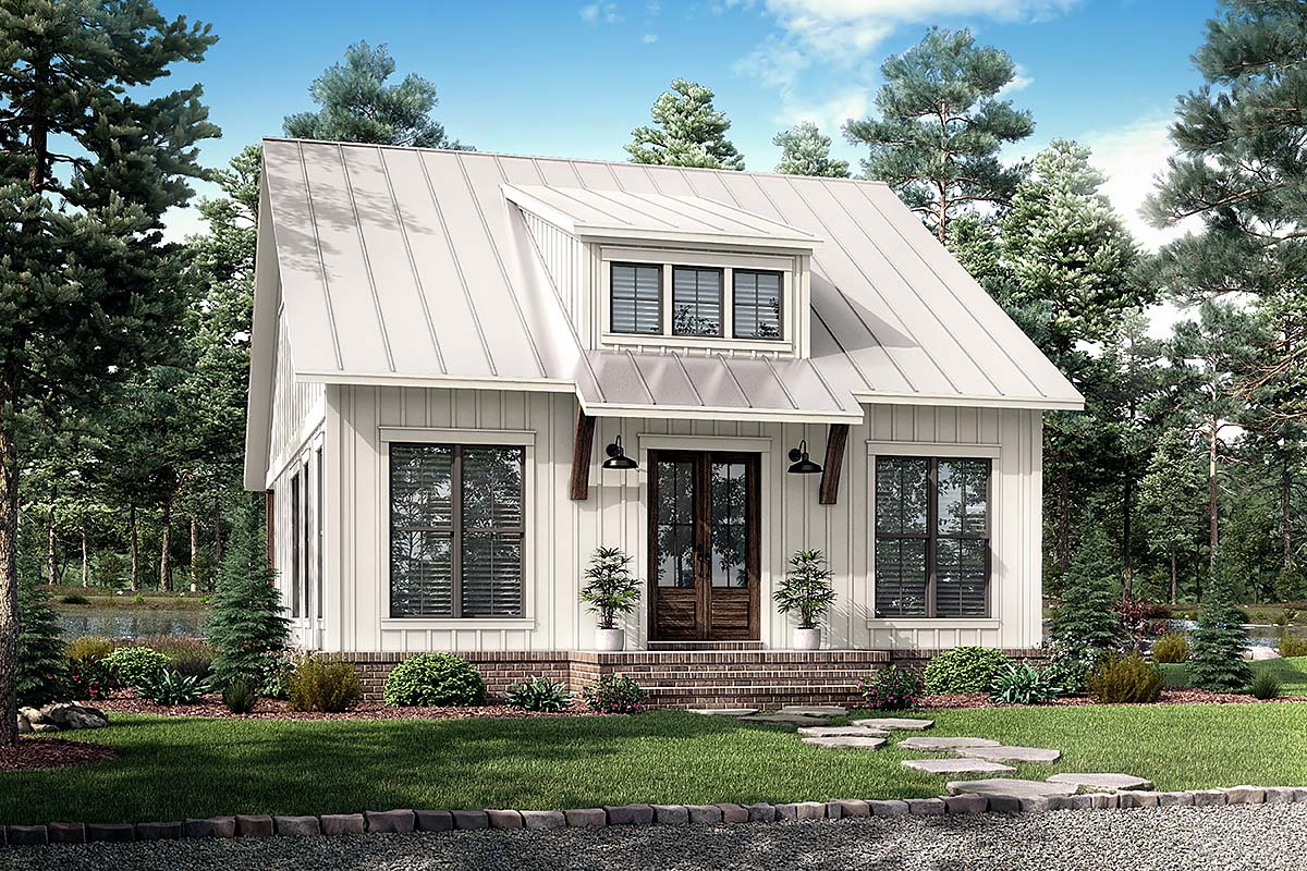 Cottage, Farmhouse, French Country, Southern House Plan 80810 with 2 Beds, 1 Baths Elevation