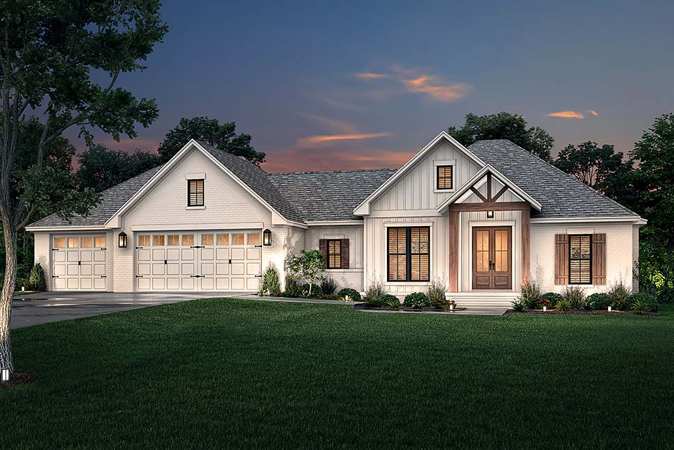 Country, Farmhouse, Traditional House Plan 80812 with 3 Beds, 2 Baths, 3 Car Garage Picture 4
