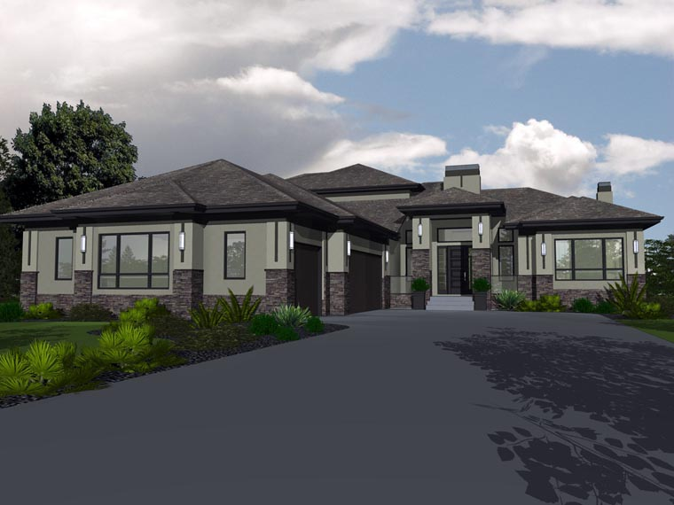 Bungalow House Plan 81143 with 5 Beds , 3 Baths , 3 Car Garage Elevation