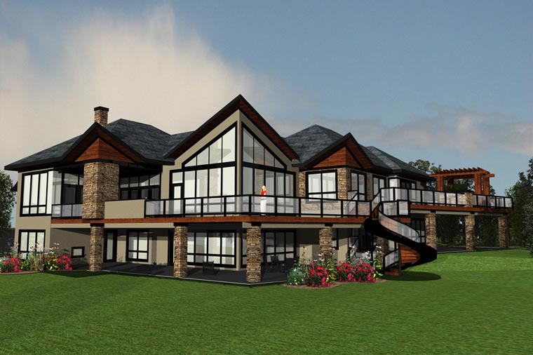Contemporary House Plan 81183 with 4 Beds , 4 Baths , 4 Car Garage Elevation