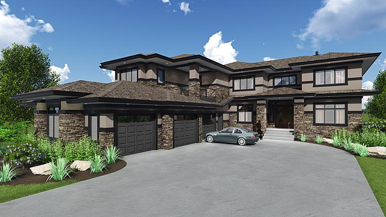 Modern, Southwest House Plan 81185 with 4 Beds, 6 Baths, 3 Car Garage Elevation