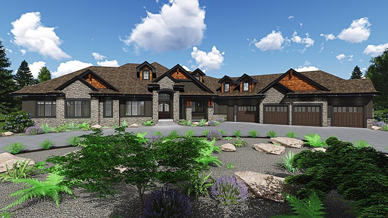 Country, Craftsman, Traditional House Plan 81187 with 5 Beds, 5 Baths, 4 Car Garage Elevation