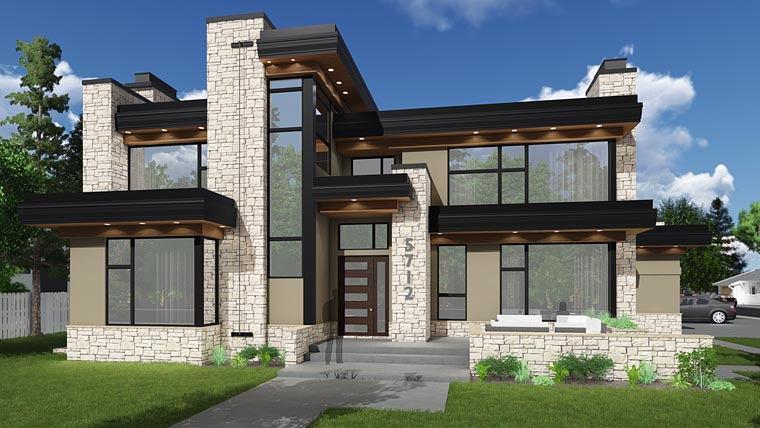 Contemporary, Modern House Plan 81189 with 3 Beds, 4 Baths, 4 Car Garage Elevation