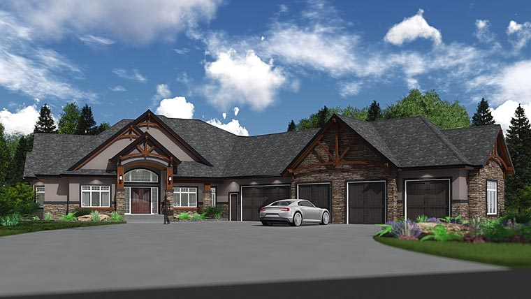 Craftsman, Traditional House Plan 81190 with 3 Beds, 3 Baths, 5 Car Garage Elevation