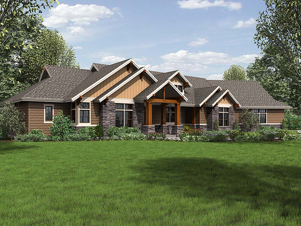 Craftsman, Ranch House Plan 81200 with 3 Beds, 3 Baths, 3 Car Garage Elevation