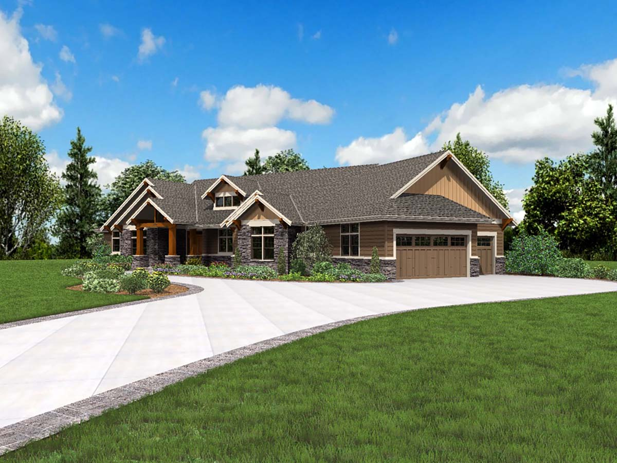 Craftsman, Ranch House Plan 81200 with 3 Beds, 3 Baths, 3 Car Garage Picture 1