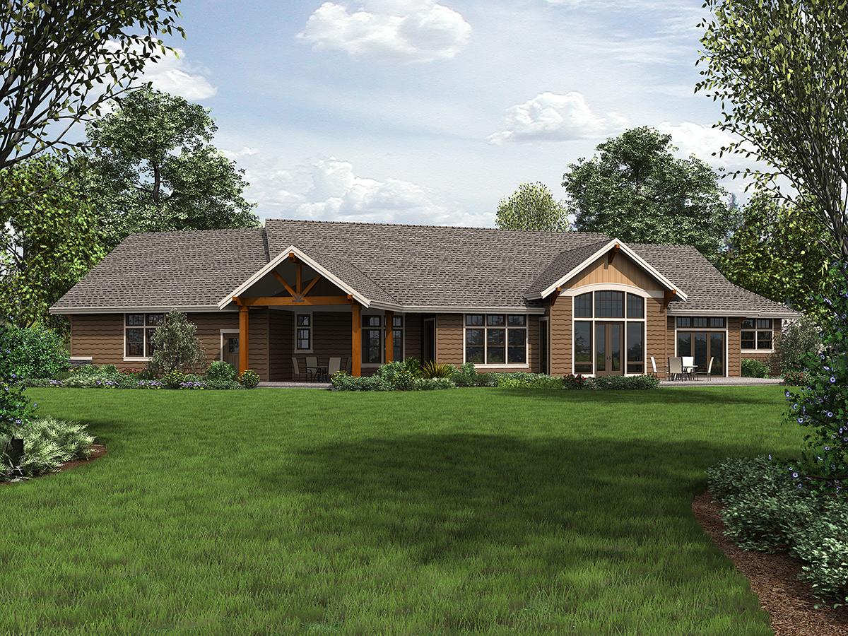 Craftsman Ranch Rear Elevation of Plan 81200