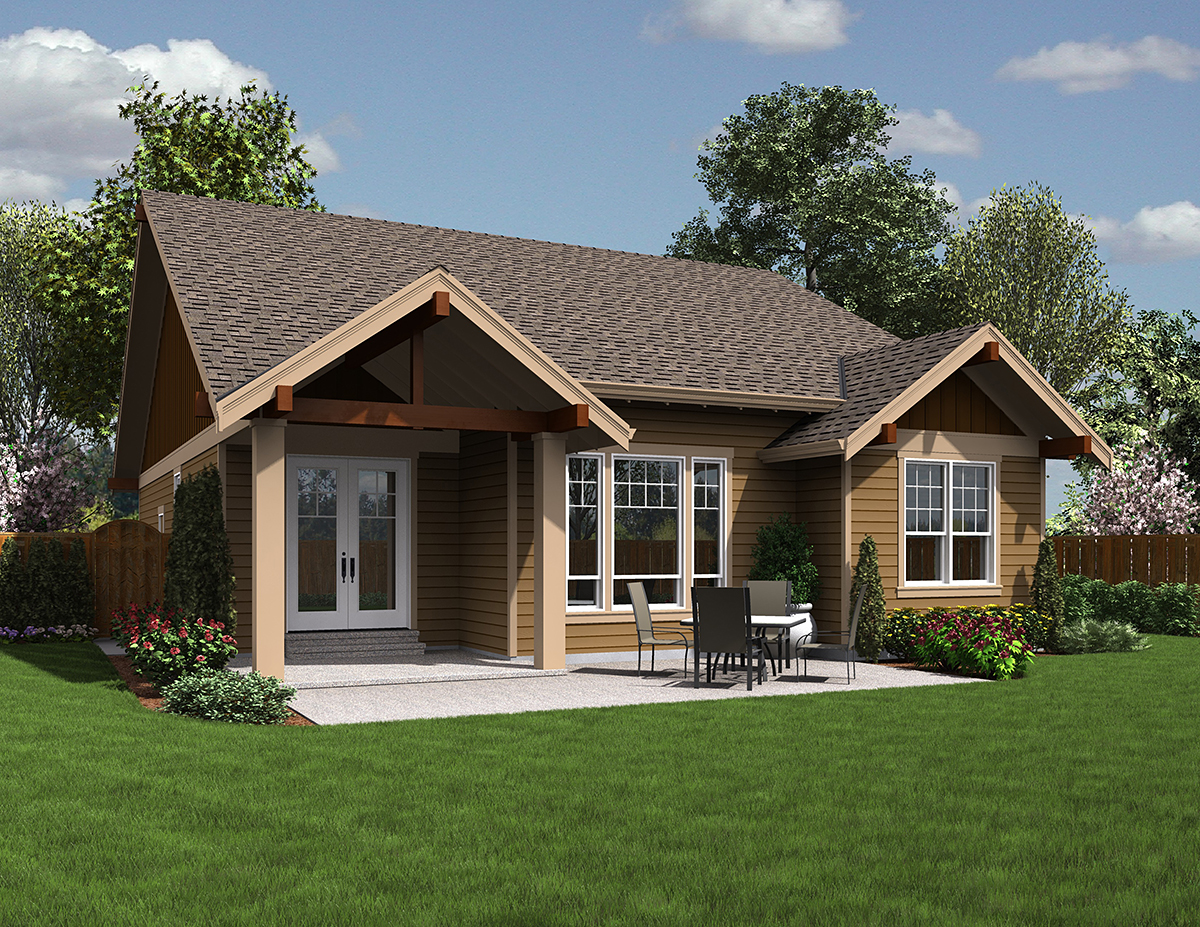 Bungalow, Cottage, Craftsman House Plan 81201 with 3 Beds, 2 Baths, 2 Car Garage Rear Elevation