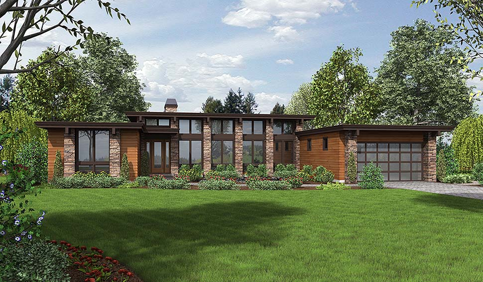 Contemporary Modern Prairie Style Elevation of Plan 81203