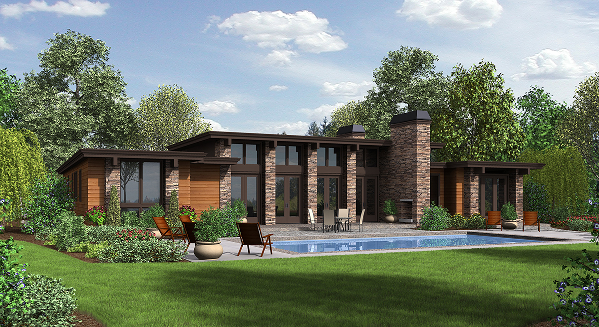 Contemporary Modern Prairie Style Rear Elevation of Plan 81203
