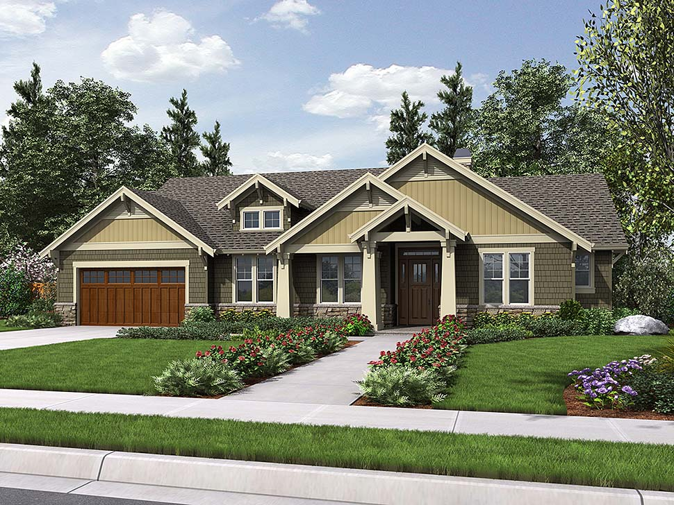 Bungalow, Craftsman House Plan 81206 with 3 Beds, 2 Baths, 2 Car Garage Elevation