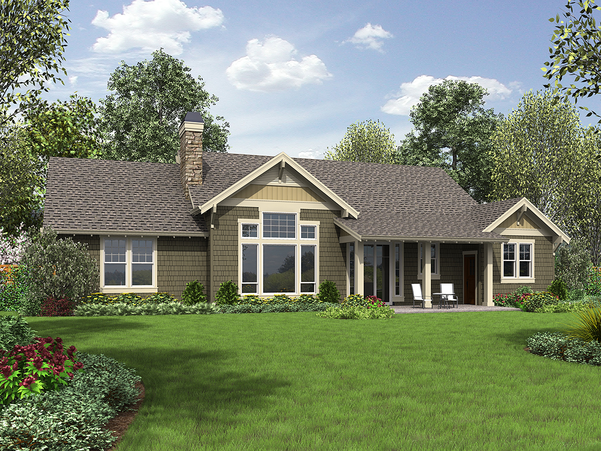 Bungalow, Craftsman House Plan 81206 with 3 Beds, 2 Baths, 2 Car Garage Rear Elevation
