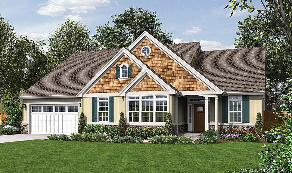 Cottage, Country House Plan 81207 with 3 Beds, 2 Baths, 3 Car Garage Elevation