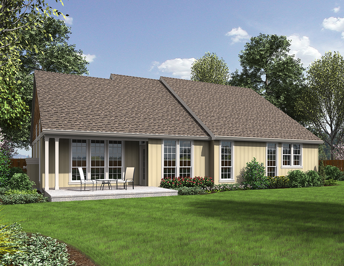 Cottage, Country House Plan 81207 with 3 Beds, 2 Baths, 3 Car Garage Rear Elevation