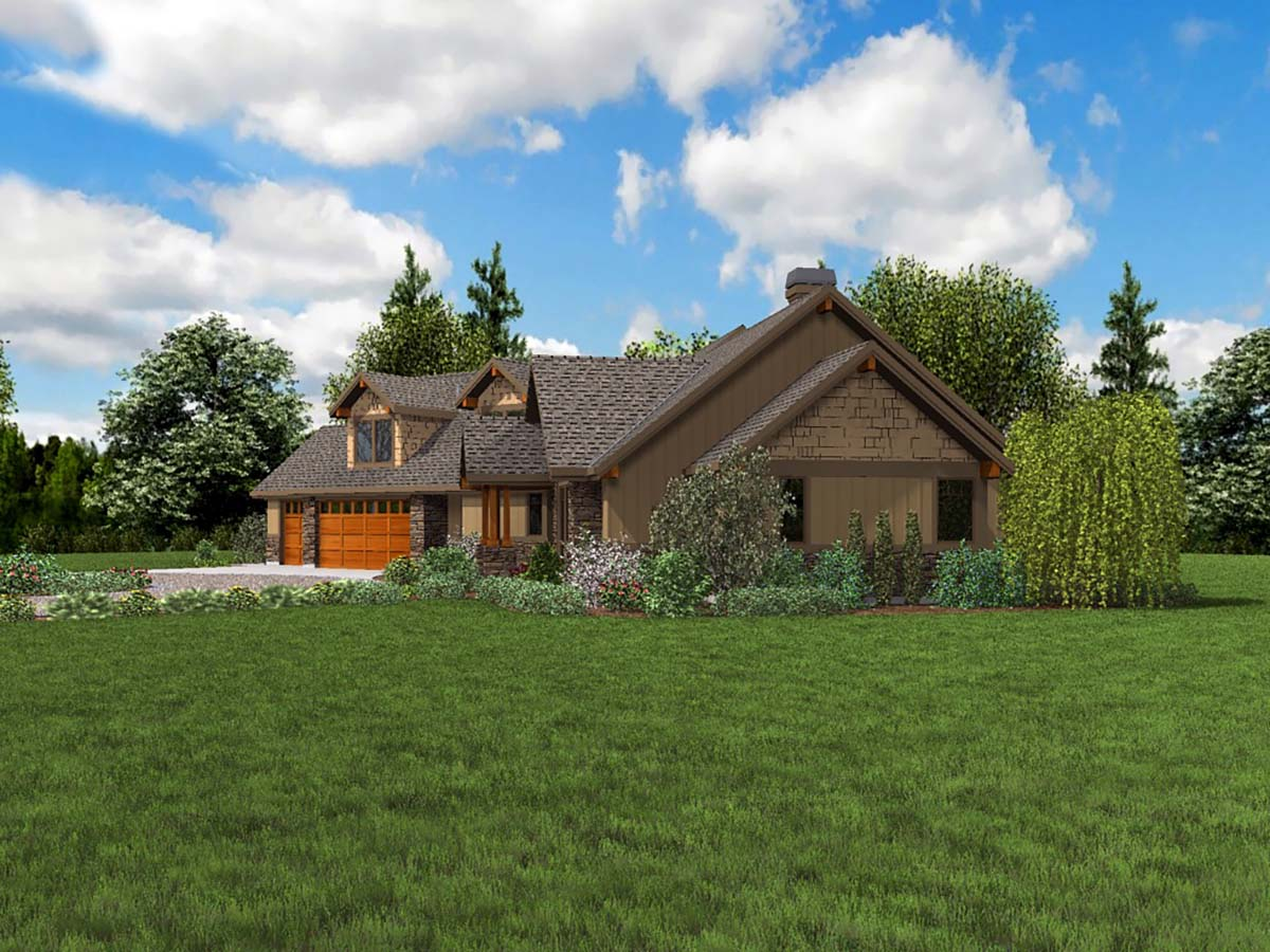 Craftsman, Ranch House Plan 81208 with 3 Beds, 3 Baths, 3 Car Garage Picture 1