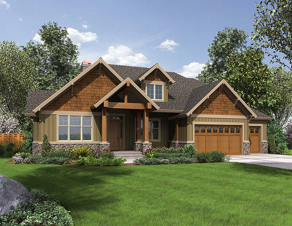 Bungalow, Craftsman House Plan 81209 with 3 Beds, 3 Baths, 3 Car Garage Front Elevation