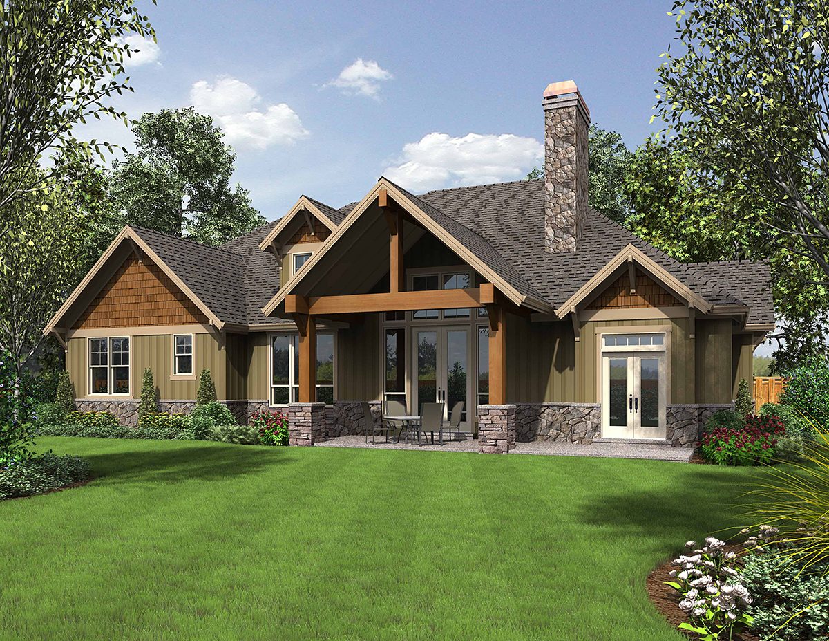 Bungalow, Craftsman House Plan 81209 with 3 Beds, 3 Baths, 3 Car Garage Rear Elevation