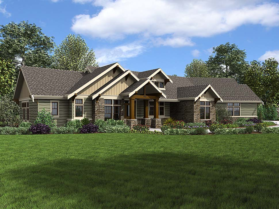 Craftsman , Ranch House Plan 81210 with 3 Beds, 3 Baths, 3 Car Garage Elevation