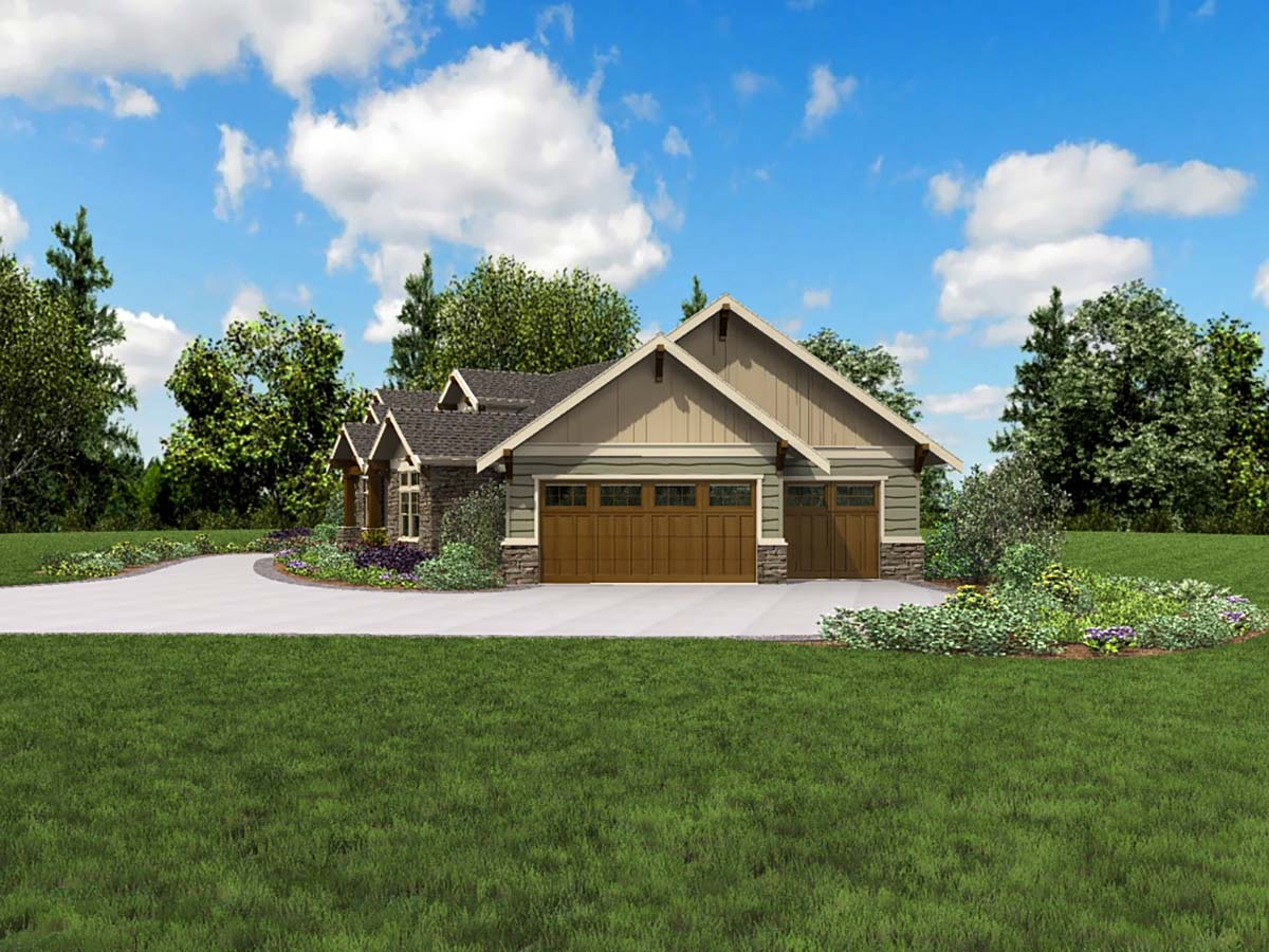 Craftsman, Ranch House Plan 81210 with 3 Beds, 3 Baths, 3 Car Garage Picture 1