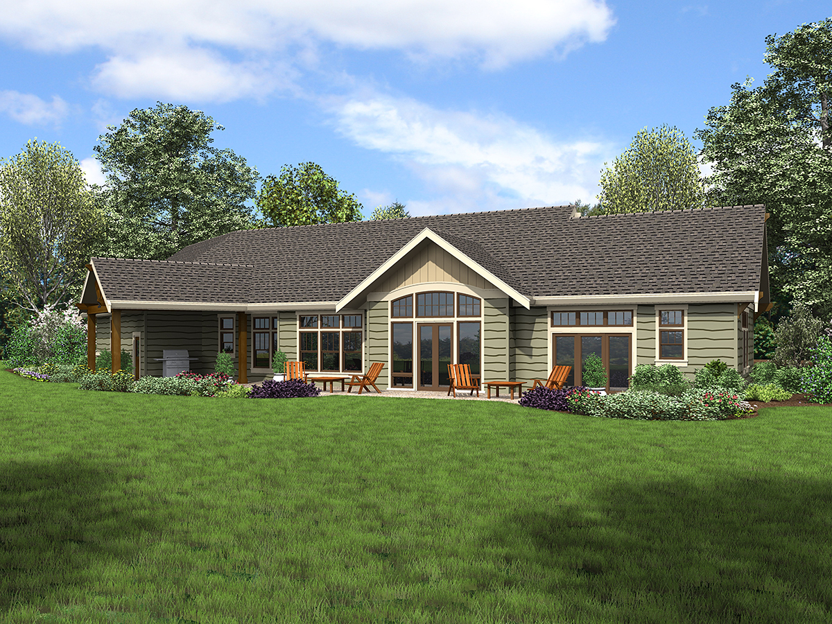 Craftsman , Ranch House Plan 81210 with 3 Beds, 3 Baths, 3 Car Garage Rear Elevation