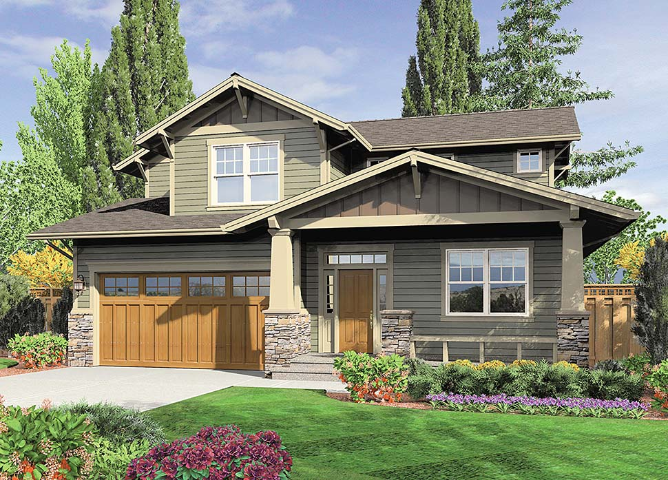 Bungalow, Craftsman House Plan 81211 with 3 Beds, 3 Baths, 2 Car Garage Elevation
