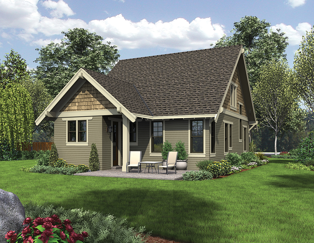 Bungalow , Cottage , Craftsman House Plan 81214 with 3 Beds, 3 Baths Rear Elevation