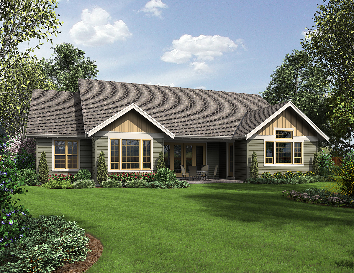 Craftsman House Plan 81215 with 3 Beds, 3 Baths, 3 Car Garage Rear Elevation
