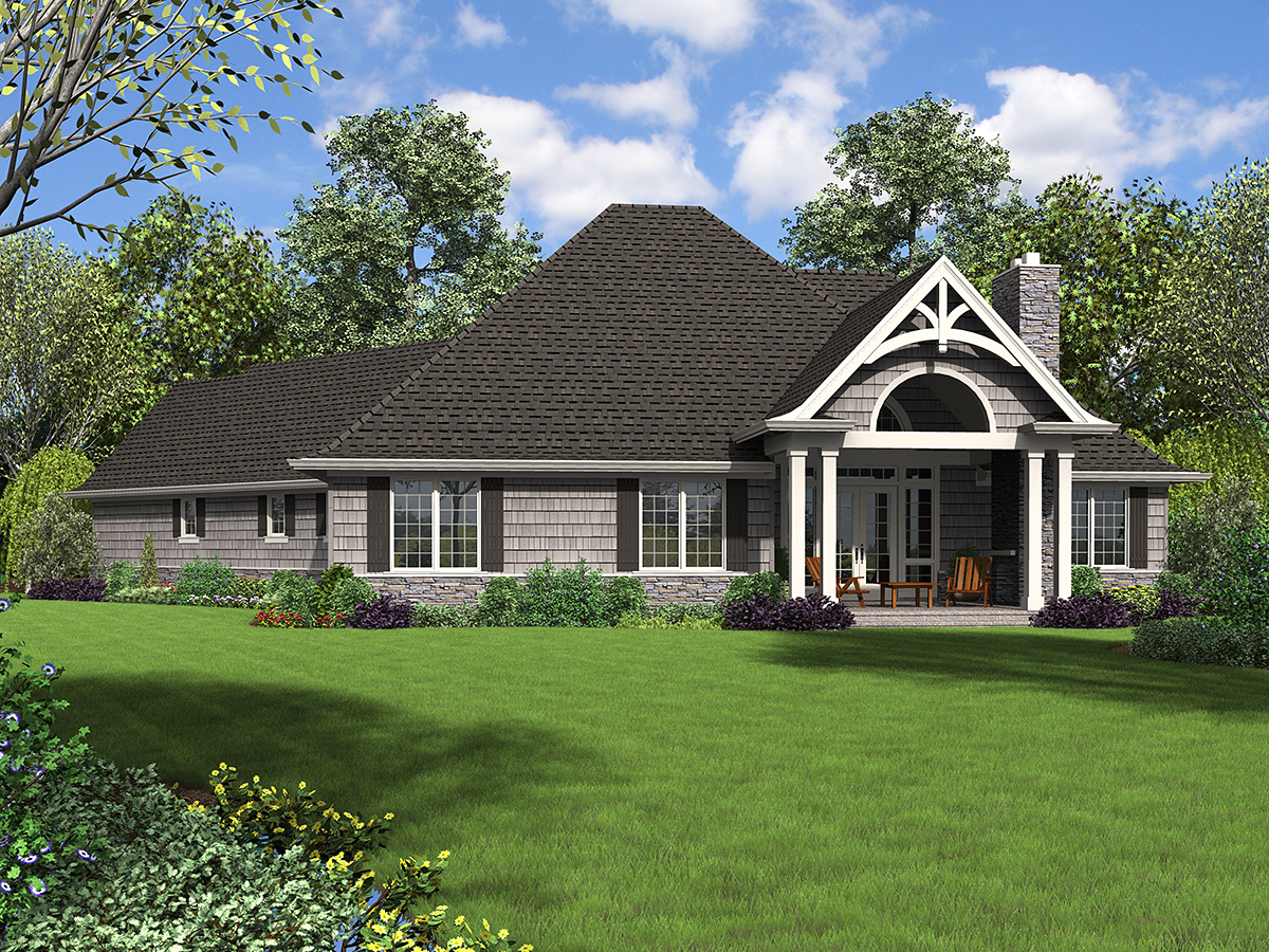 Craftsman House Plan 81218 with 3 Beds, 4 Baths, 3 Car Garage Rear Elevation