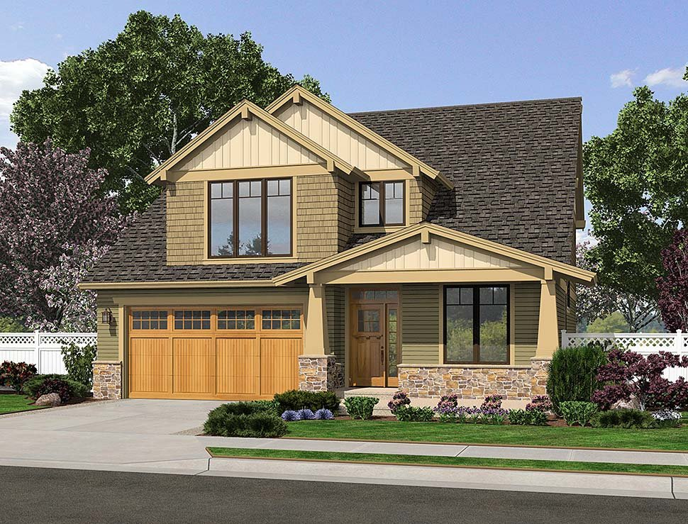 Bungalow, Craftsman, Traditional House Plan 81219 with 4 Beds, 3 Baths, 3 Car Garage Elevation