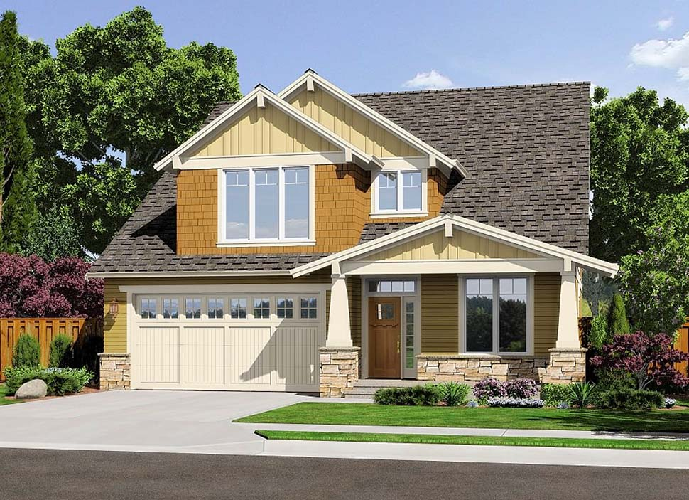 Bungalow, Craftsman, Traditional House Plan 81219 with 4 Beds, 3 Baths, 3 Car Garage Picture 1