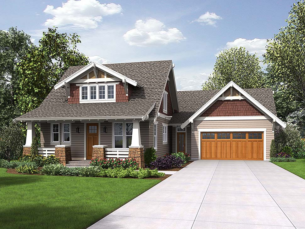 Bungalow, Craftsman, Traditional House Plan 81220 with 3 Beds, 3 Baths, 2 Car Garage Elevation