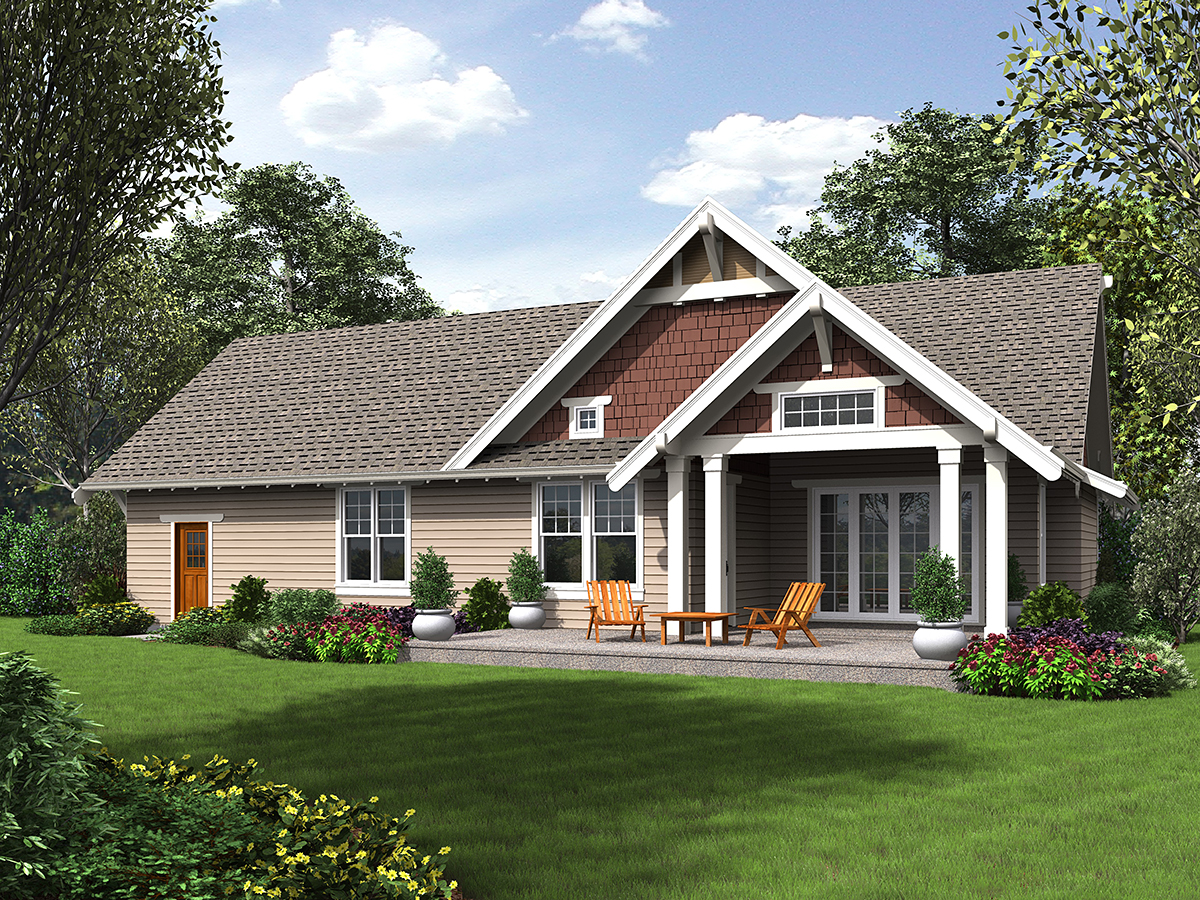 Bungalow, Craftsman, Traditional House Plan 81220 with 3 Beds, 3 Baths, 2 Car Garage Rear Elevation