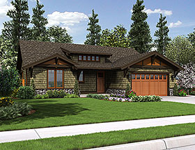Craftsman , Ranch House Plan 81221 with 3 Beds, 2 Baths, 2 Car Garage Elevation