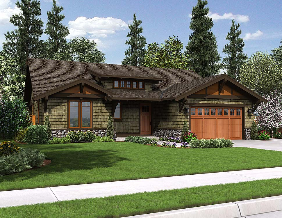 Craftsman, Ranch House Plan 81221 with 3 Beds, 2 Baths, 2 Car Garage Elevation