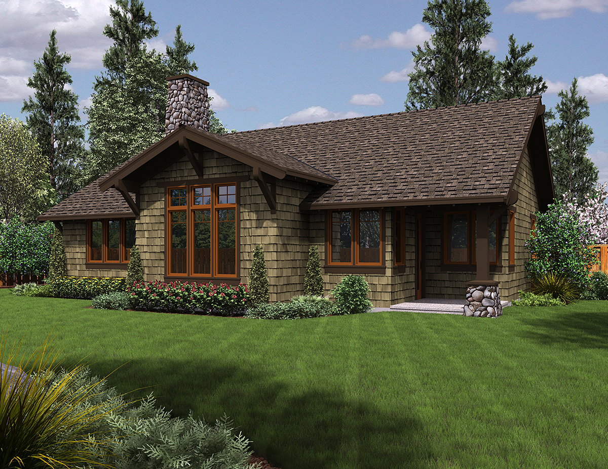 Craftsman, Ranch House Plan 81221 with 3 Beds, 2 Baths, 2 Car Garage Rear Elevation