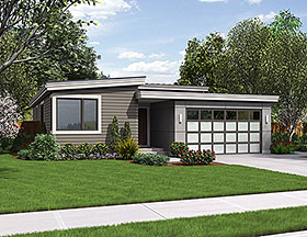 Contemporary , Ranch House Plan 81222 with 3 Beds, 2 Baths, 2 Car Garage Elevation
