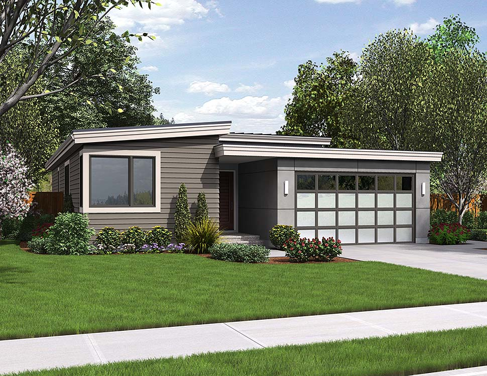 Contemporary, Ranch House Plan 81222 with 3 Beds, 2 Baths, 2 Car Garage Elevation