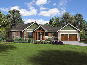Craftsman , Ranch House Plan 81223 with 3 Beds, 3 Baths, 2 Car Garage Elevation