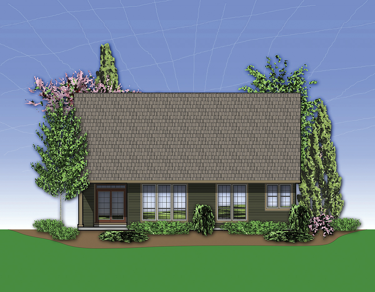 Bungalow, Craftsman House Plan 81225 with 3 Beds, 3 Baths, 3 Car Garage Rear Elevation