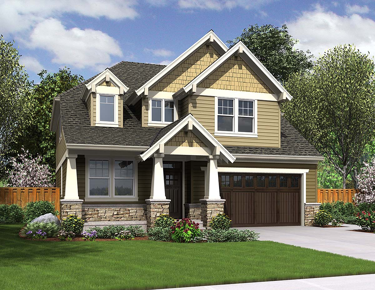 Cottage Craftsman Elevation of Plan 81228