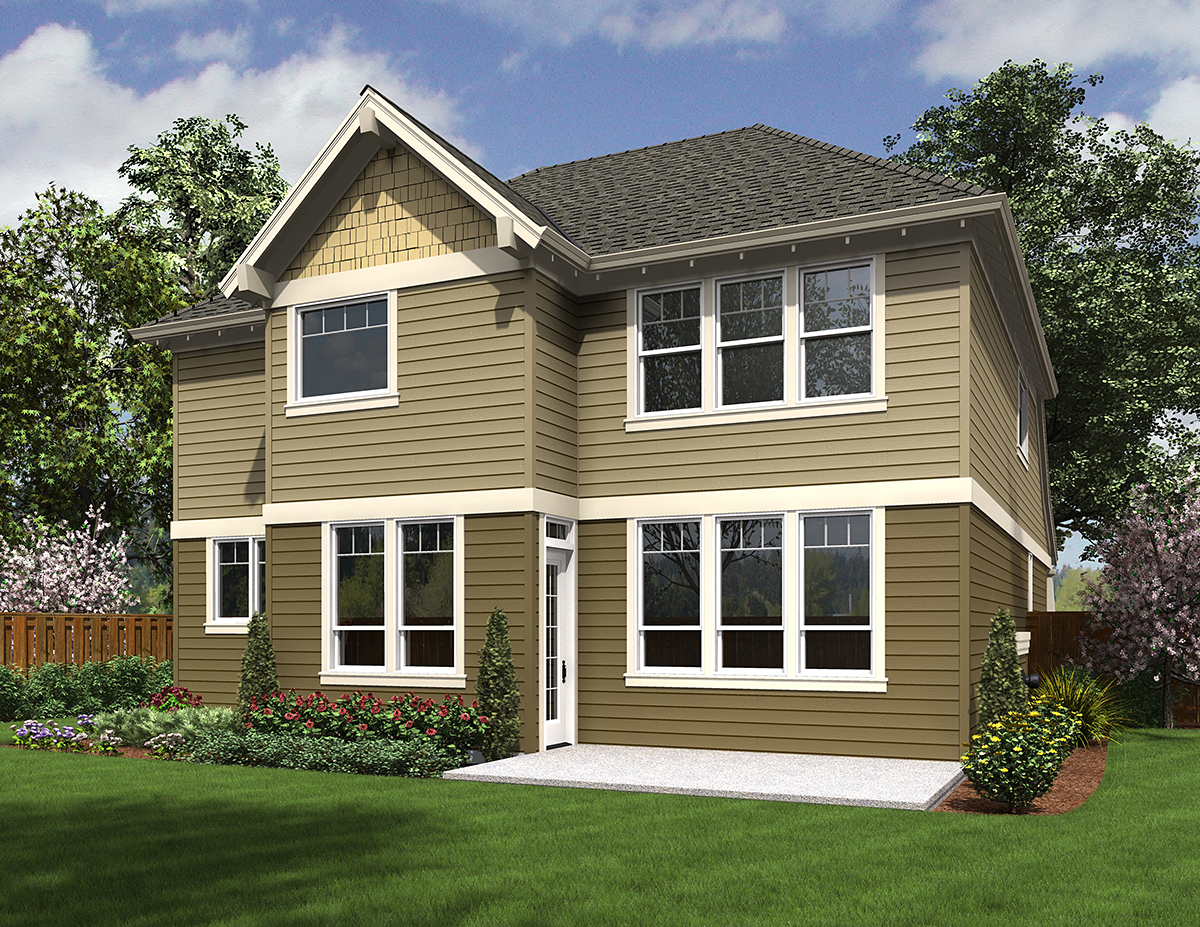 Cottage Craftsman Rear Elevation of Plan 81228
