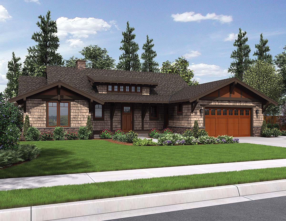 Bungalow, Craftsman House Plan 81229 with 3 Beds , 3 Baths , 2 Car Garage Elevation