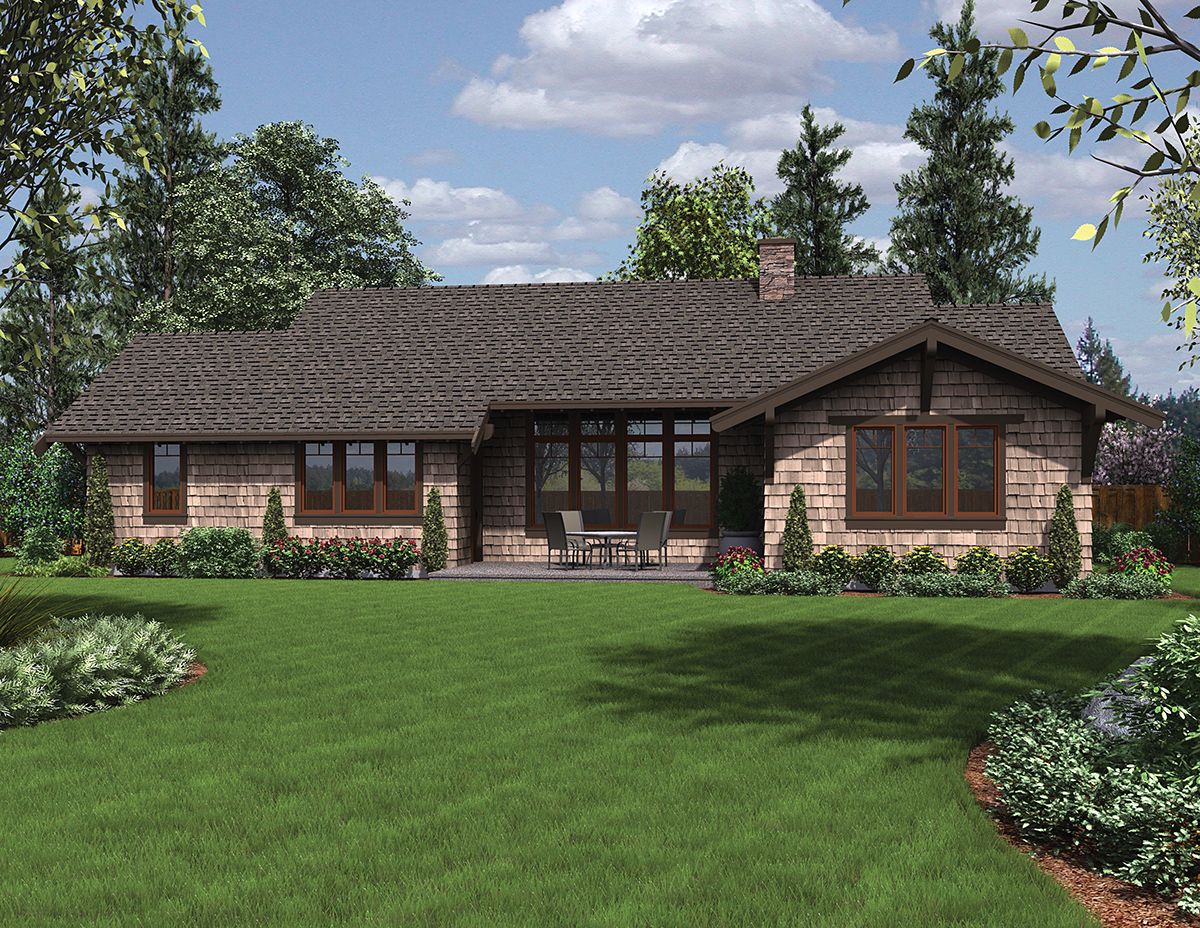 Bungalow, Craftsman House Plan 81229 with 3 Beds , 3 Baths , 2 Car Garage Rear Elevation