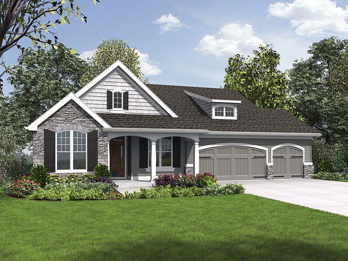 Craftsman , Ranch House Plan 81230 with 5 Beds, 3 Baths, 3 Car Garage Elevation